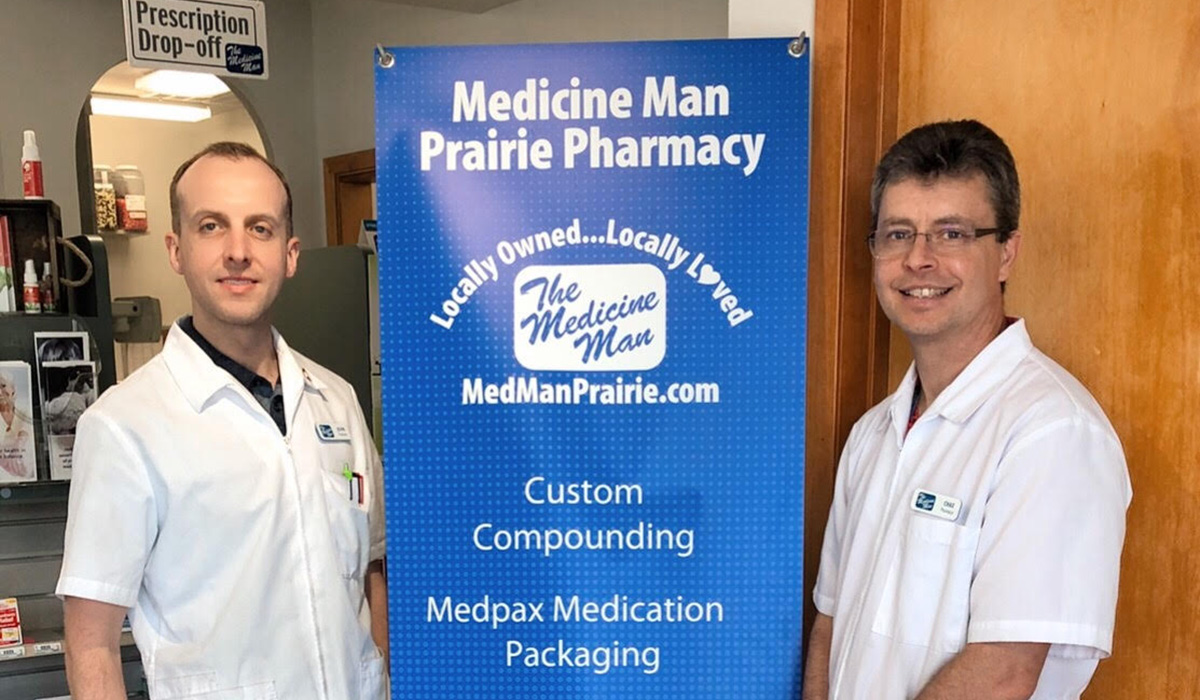 Two pharmacists from Medicine Man Prairie Pharmacy